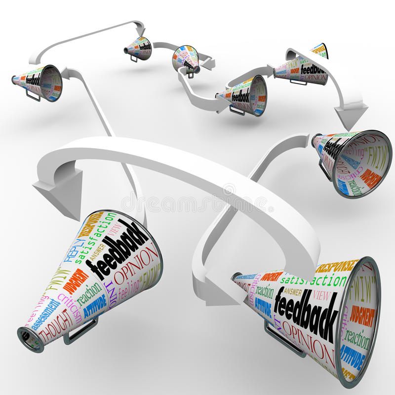 Återkopplingsmegafonmegafoner som fördelar åsiktkommentarer royaltyfri illustrationer
