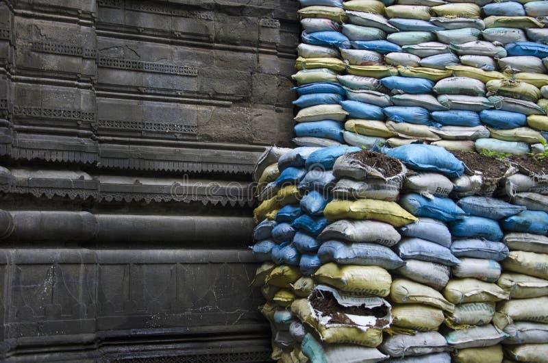 Återställandearbete, Sundar Narayan Mandir, Nashik, Maharashtra, Indien arkivfoto