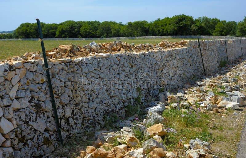 Återställandedrywall med stenväggen arkivfoton