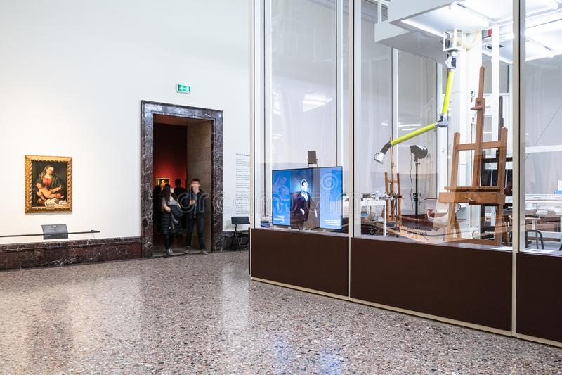 Återställandelaboratorium i Pinacoteca di Brera arkivfoto