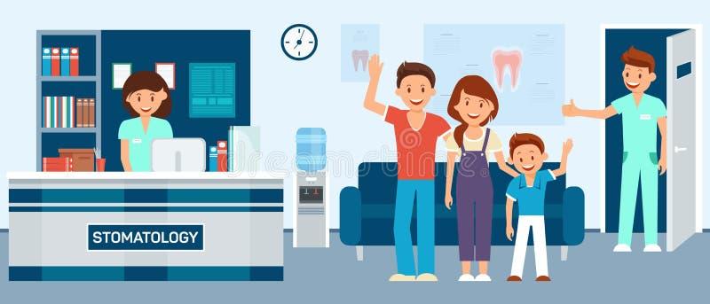 Återställd familj efter tand- behandling i väntande rum på tandläkaren vektor illustrationer