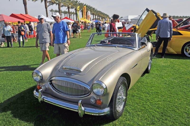 Återställda Austin Healy Sports Car With Wire hjul royaltyfria foton