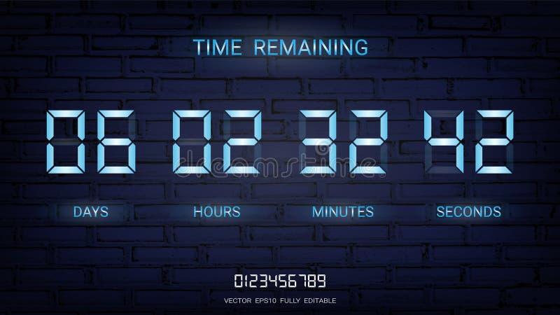 Återstå för nedräkningtidmätare eller funktionskort för klockaräknare med dag-, timme-, minut- och sekundskärm, neonglöd på en mö royaltyfri illustrationer