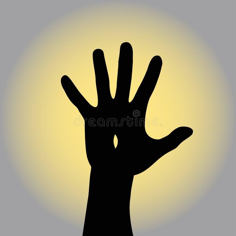 Återuppväckte Jesus lyfter hans hand till den broddade himlen Vektorillustrationen kan vara van vid illustrerar påskferien vektor illustrationer