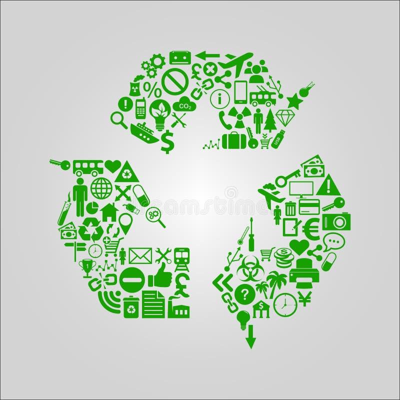 Återvinningbegreppsillustration - det olika massmedia, teknologi, miljön och industriella symboler formade in i ett återanvändnin royaltyfri illustrationer