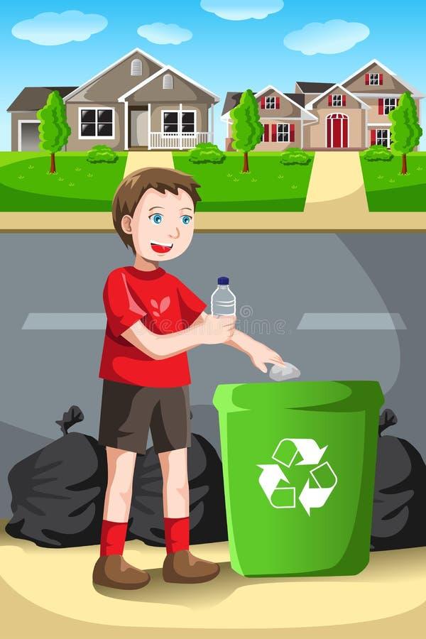 Återvinningunge royaltyfri illustrationer