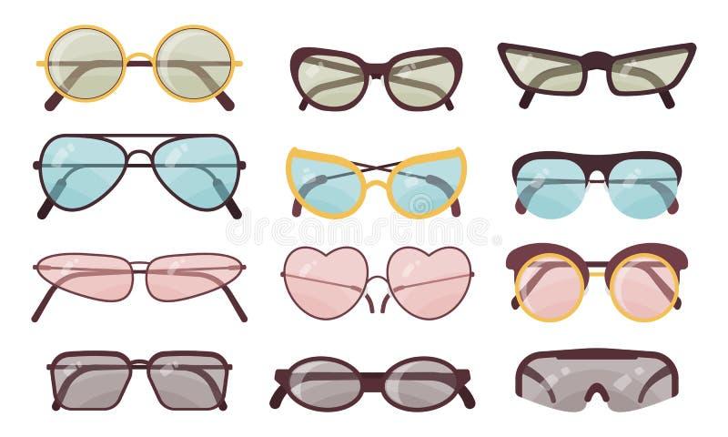 Åtföljande uppsättning för solanblickvektor f?rgrik solglas?gon f?r samling Sommarglas?gon stock illustrationer