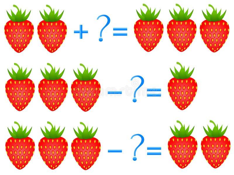 Åtgärda förhållandet av tillägget och subtraktion, exempel med av en jordgubbe Bildande lekar för barn stock illustrationer