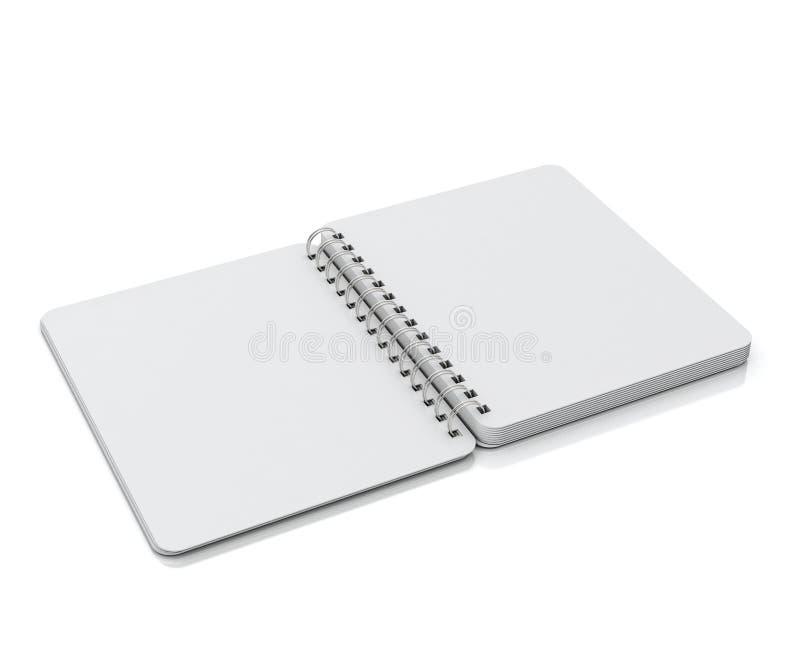 Åtlöje öppnade upp tomt ligga för spiralanteckningsbok som isolerades på vit bakgrund royaltyfria foton