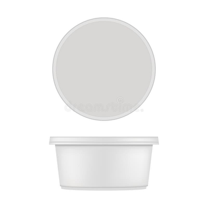Åtlöje av rund plast- badar upp för efterrätt Vektor som isoleras på vitbakgrund vektor illustrationer