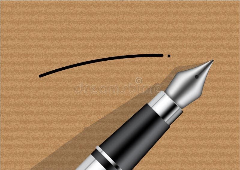 åtlöje 3D upp realistisk reservoarpenna på Kraft pappers- bakgrundsillustration royaltyfri illustrationer