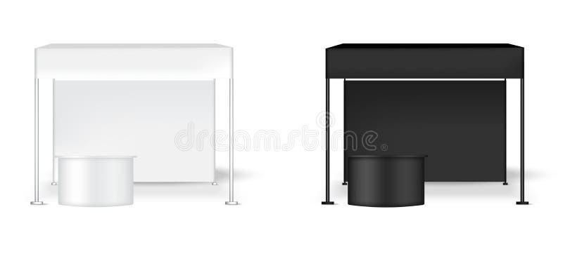 åtlöje 3D upp realistiskt bås för POP för tältskärmvägg med för marknadsföringsbefordran för tabell den till salu illustrationen  vektor illustrationer