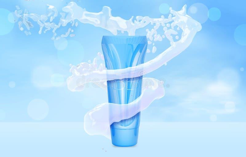 Åtlöje för BBkrämflaska upp i vattenfärgstänk på det blåa röret för bokehbakgrundsfundament i illustration för vattentromb 3D stock illustrationer