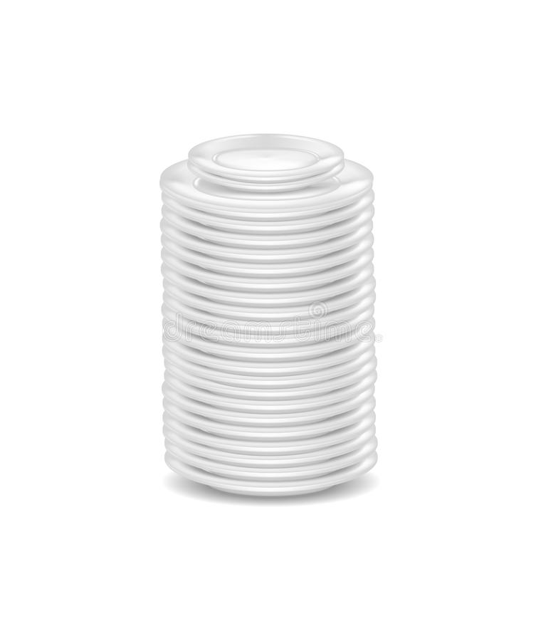 Åtlöje för Dishware för realistiskt detaljerat mellanrum för mall 3d vit upp vektor royaltyfri illustrationer