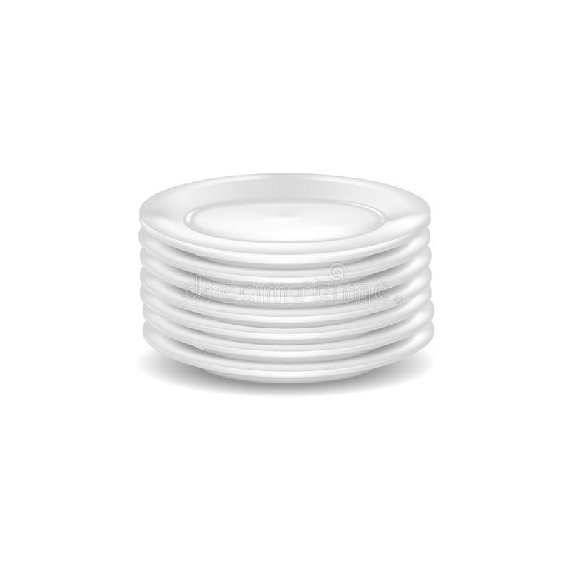 Åtlöje för Dishware för realistiskt detaljerat mellanrum för mall 3d vit upp vektor stock illustrationer