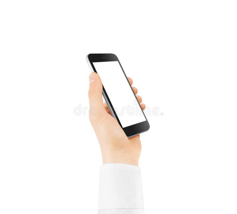 Åtlöje för tom skärm för telefon för svart smart upp innehav i hand arkivfoto
