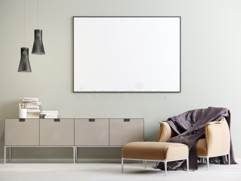 Åtlöje upp affischen i inre med en byrå och en stol i en modern stil stock illustrationer