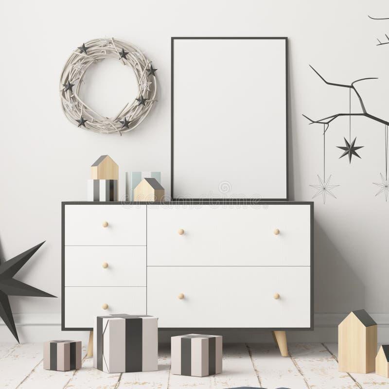Åtlöje upp affischen i julen som är inre i skandinavisk stil framförande 3d vektor illustrationer