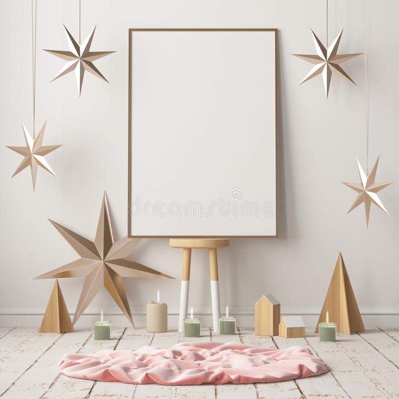 Åtlöje upp affischen i julen som är inre i skandinavisk stil framförande 3d royaltyfri illustrationer