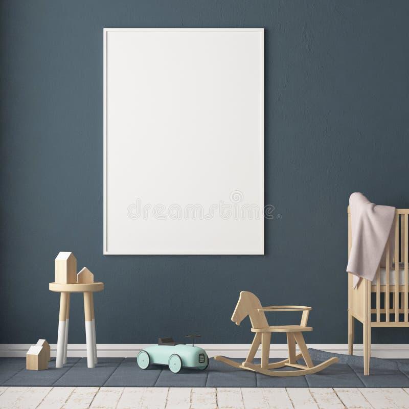 Åtlöje upp affischen i rummet för barn` s Rum för barn` s i skandinavisk stil illustration 3d stock illustrationer