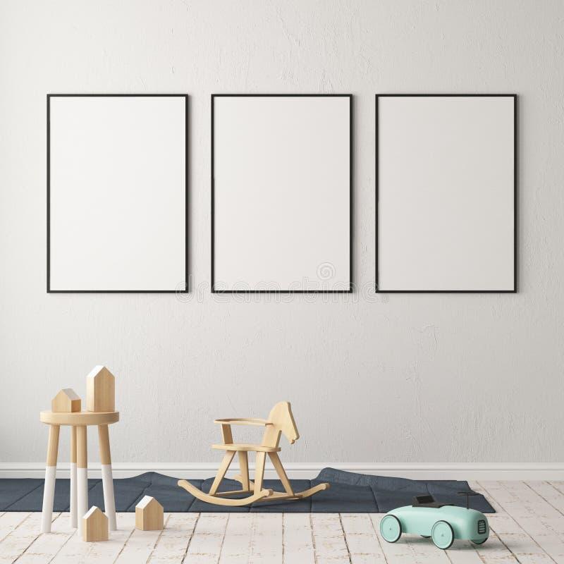 Åtlöje upp affischen i rummet för barn` s Rum för barn` s i skandinavisk stil illustration 3d vektor illustrationer