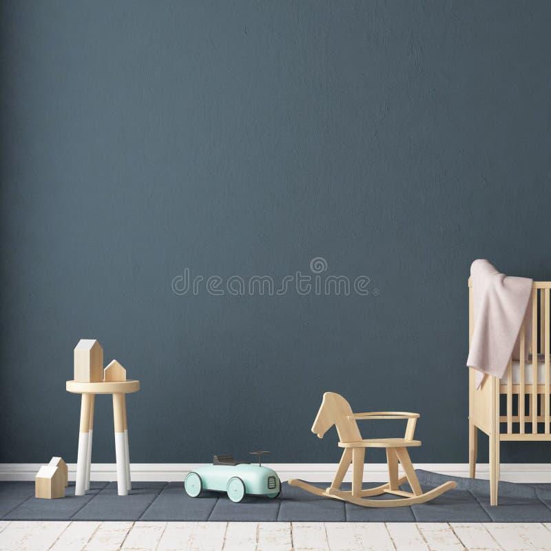 Åtlöje upp affischen i rummet för barn` s Rum för barn` s i skandinavisk stil illustration 3d royaltyfri illustrationer