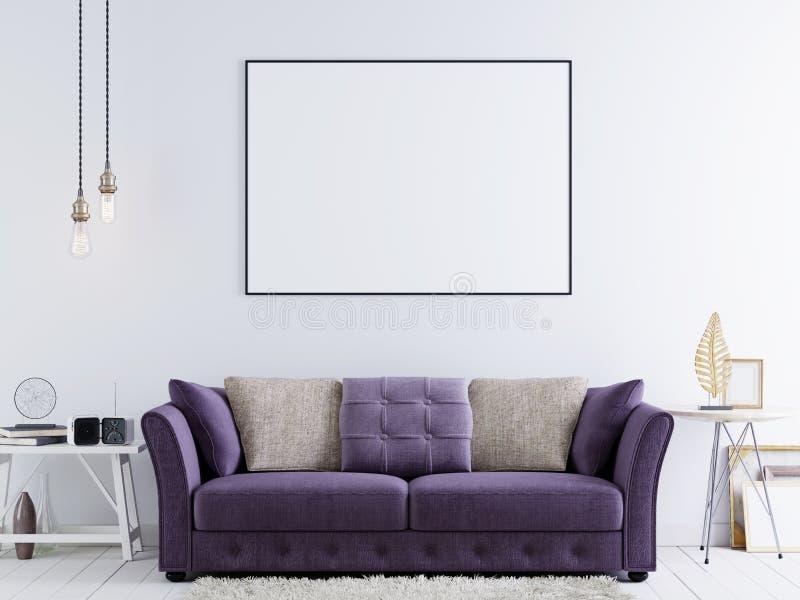 Åtlöje upp affischen på en vit vägg i modern hipsterinre med den violetta soffan och vittabellen royaltyfri illustrationer