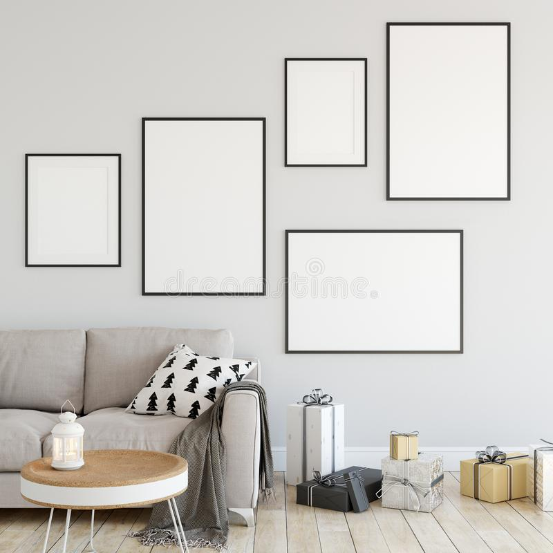 Åtlöje upp affischer i inre vardagsrumjul Inre scandinavian stil 3D tolkning, illustration 3D vektor illustrationer