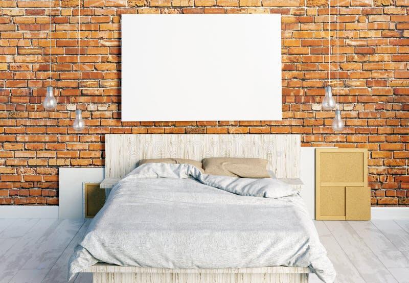 Åtlöje upp affischer i sovruminre Sovrumhipsterstil royaltyfri illustrationer