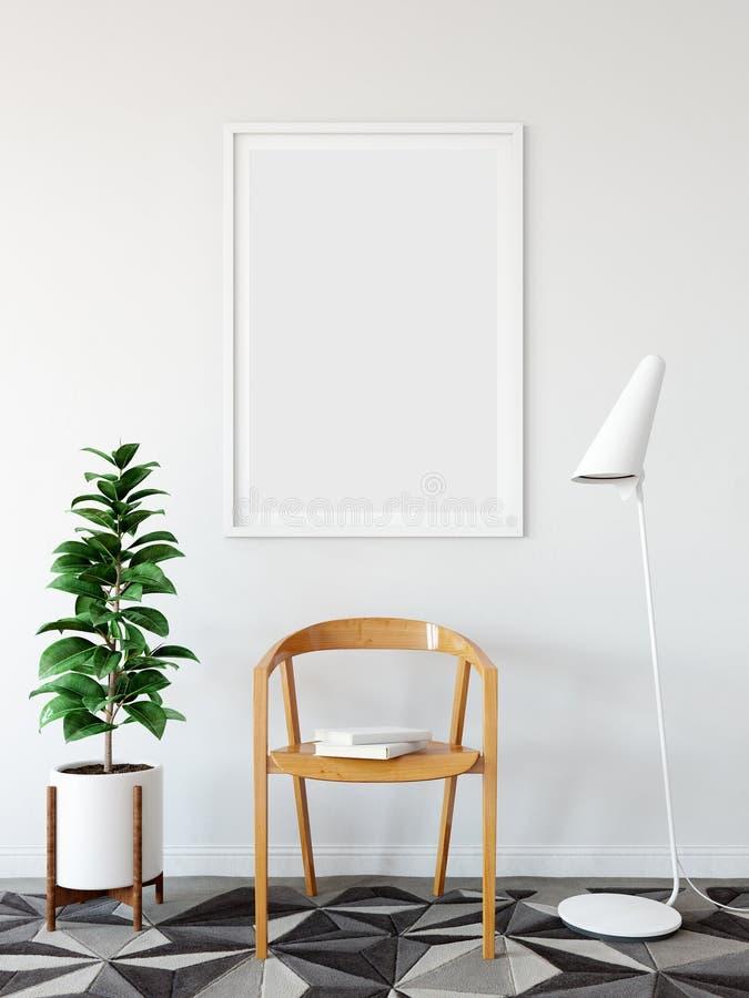 Åtlöje upp affischer i vardagsruminre Inre scandinavian stil 3D tolkning, illustration 3D vektor illustrationer
