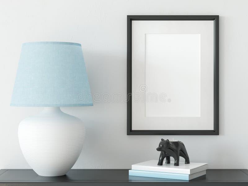 Åtlöje upp affischer i vardagsruminre Inre scandinavian stil 3D tolkning, illustration 3D stock illustrationer