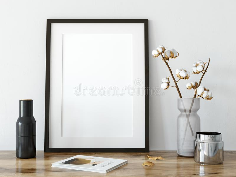 Åtlöje upp affischer i vardagsruminre Inre scandinavian stil 3D tolkning, illustration 3D royaltyfri illustrationer
