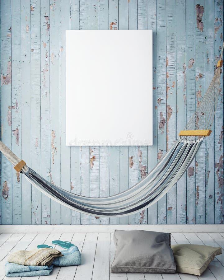 Åtlöje upp affischram i bakgrund för sommarbegreppsyttersida