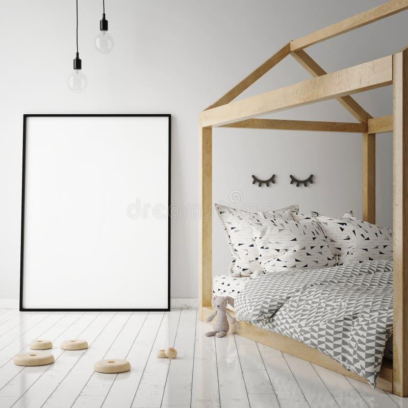 Åtlöje upp affischram i barnrum, inre bakgrund för scandinavian stil, vektor illustrationer