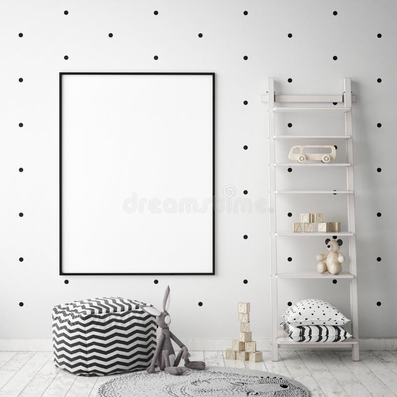 Åtlöje upp affischram i barnsovrummet, inre bakgrund för scandinavian stil, 3D framför royaltyfri illustrationer