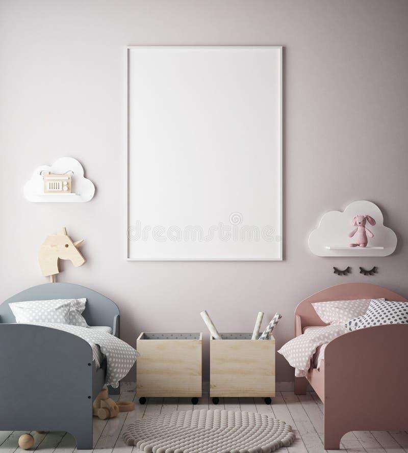 Åtlöje upp affischram i barnsovrummet, inre bakgrund för scandinavian stil, 3D framför stock illustrationer