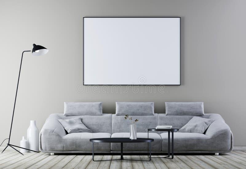 Åtlöje upp affischram i den moderna tappninginre, vardagsrum med soffan för vitt läder stock illustrationer