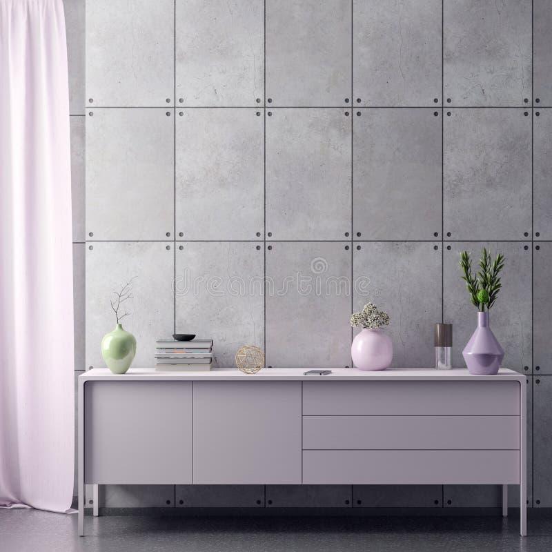 Åtlöje upp affischram i inre bakgrund för hipster i rosa färgfärger och betongväggen, 3D framför, illustrationen 3D vektor illustrationer
