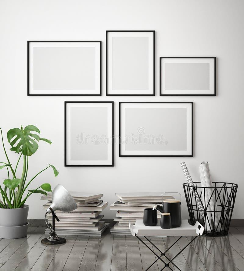 Åtlöje upp affischram i inre bakgrund för hipsteren, scandinavian stil, 3D framför vektor illustrationer