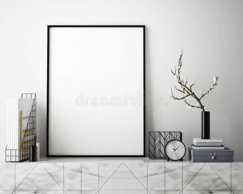 Åtlöje upp affischram i inre bakgrund för hipsteren, scandinavian stil, 3D framför stock illustrationer