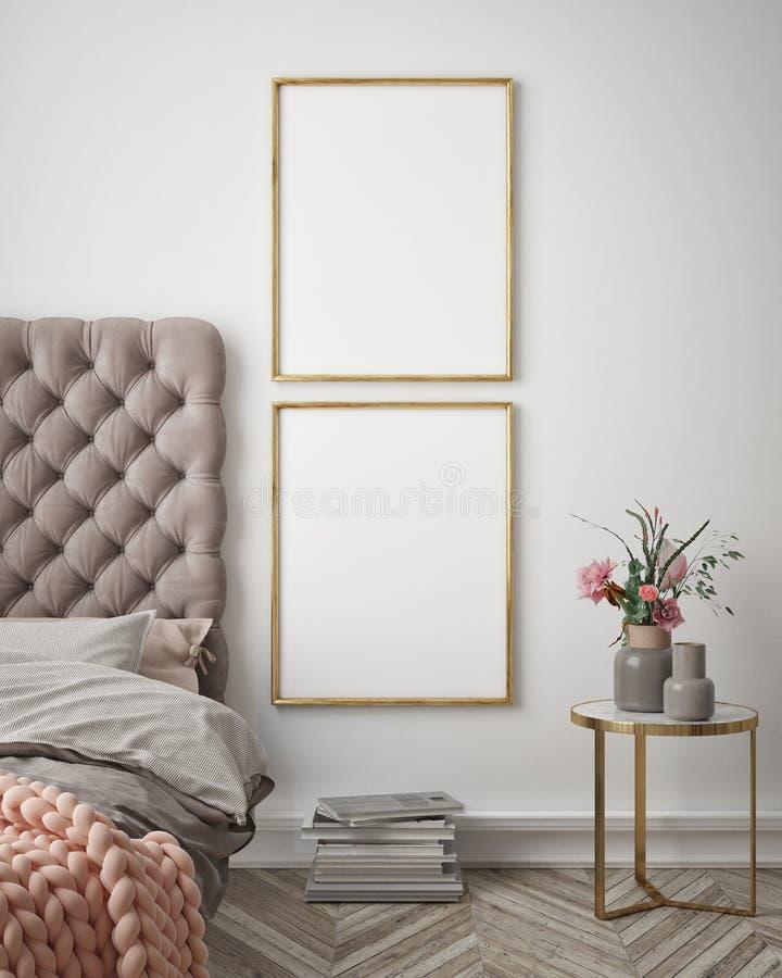 Åtlöje upp affischram i inre bakgrund för hipsteren, sovrummet, skandinavisk stil, 3D framför, illustrationen 3D vektor illustrationer