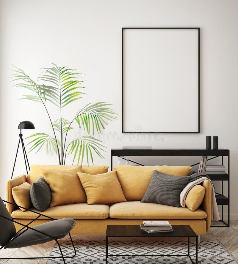 Åtlöje upp affischram i inre bakgrund för hipsteren, vardagsrum, skandinavisk stil, 3D framför, illustrationen 3D royaltyfri illustrationer