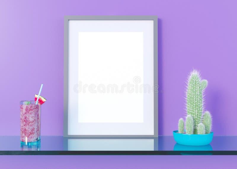 Åtlöje upp affischram i inre bakgrund för sommarbegreppet, illustrationen 3D, framför vektor illustrationer
