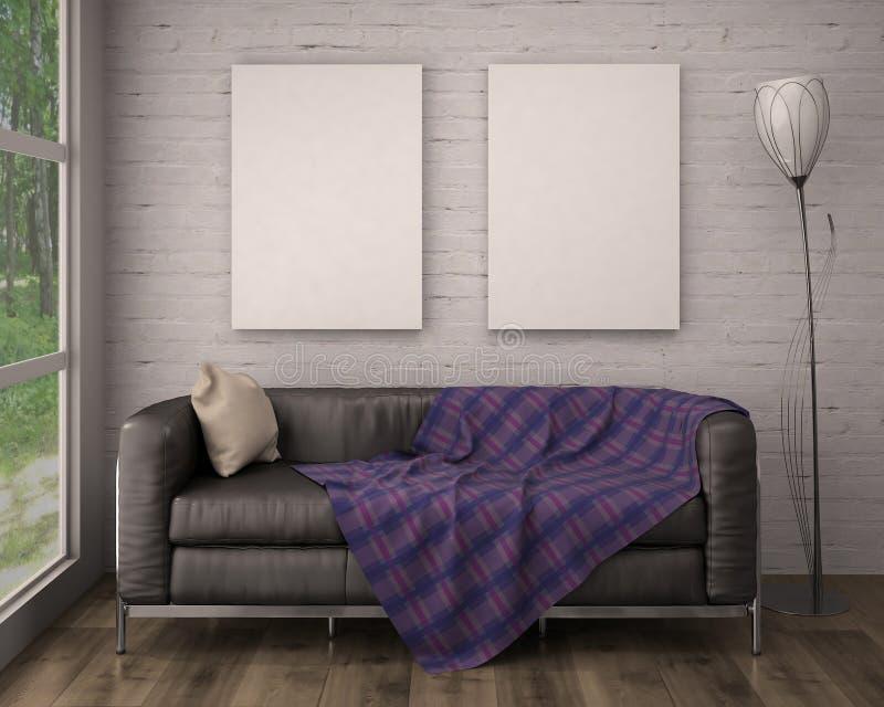 Åtlöje upp affischram i inre bakgrund illustration 3d stock illustrationer