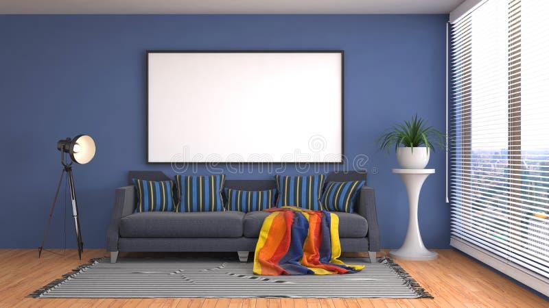 Åtlöje upp affischram i inre bakgrund illustration 3d vektor illustrationer