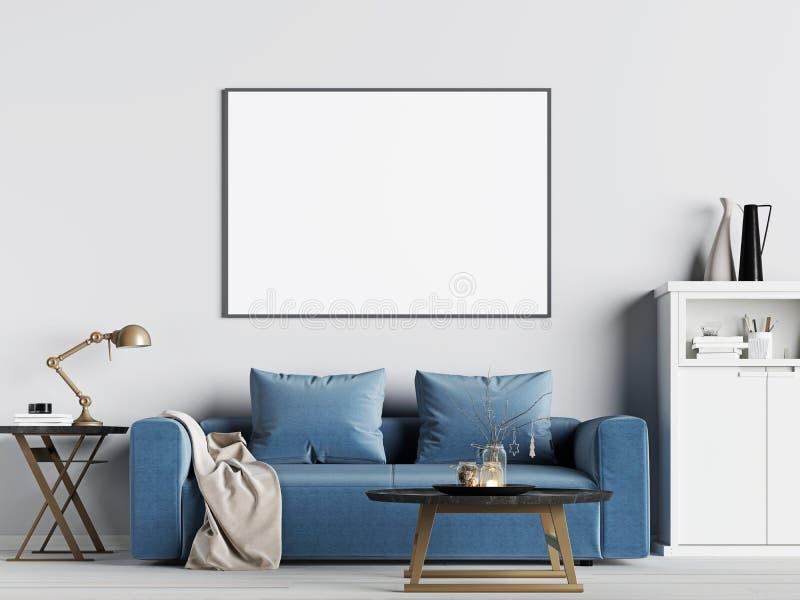 Åtlöje upp affischram i inre bakgrund med den blåa soffan, skandinavisk stil royaltyfri illustrationer