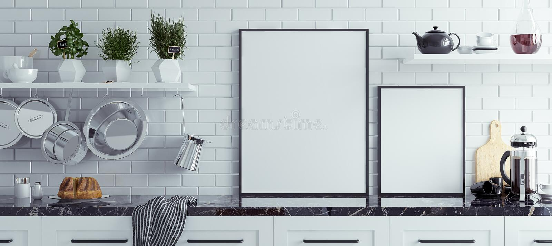Åtlöje upp affischram i kökinre, skandinavisk stil, panorama- bakgrund stock illustrationer