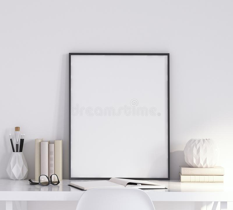 Åtlöje upp affischram i vardagsrum, arbetsområde, skandinavisk stil arkivbild