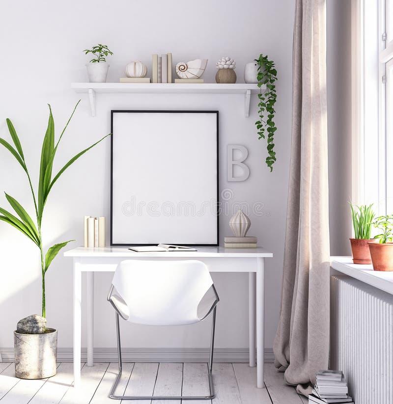 Åtlöje upp affischram i vardagsrum, arbetsområde, skandinavisk stil royaltyfria foton