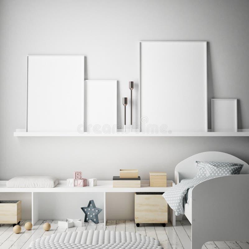 Åtlöje upp affischramar i barnsovrummet, inre bakgrund för scandinavian stil, 3D framför stock illustrationer